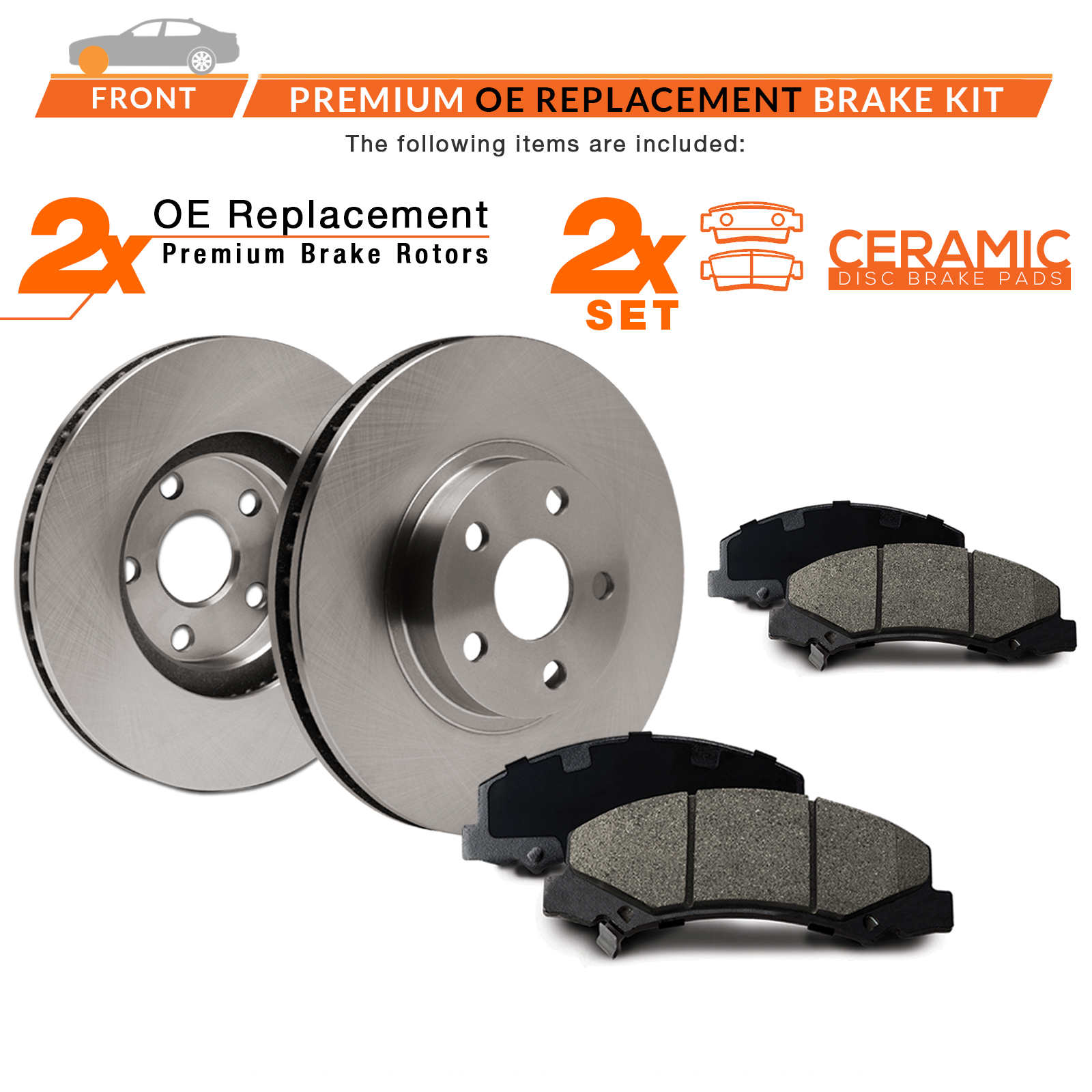 Front-Rotors-w-Ceramic-Pads-OE-Brakes-2008-2016-Fit-Dodge-Grand-Caravan thumbnail 2