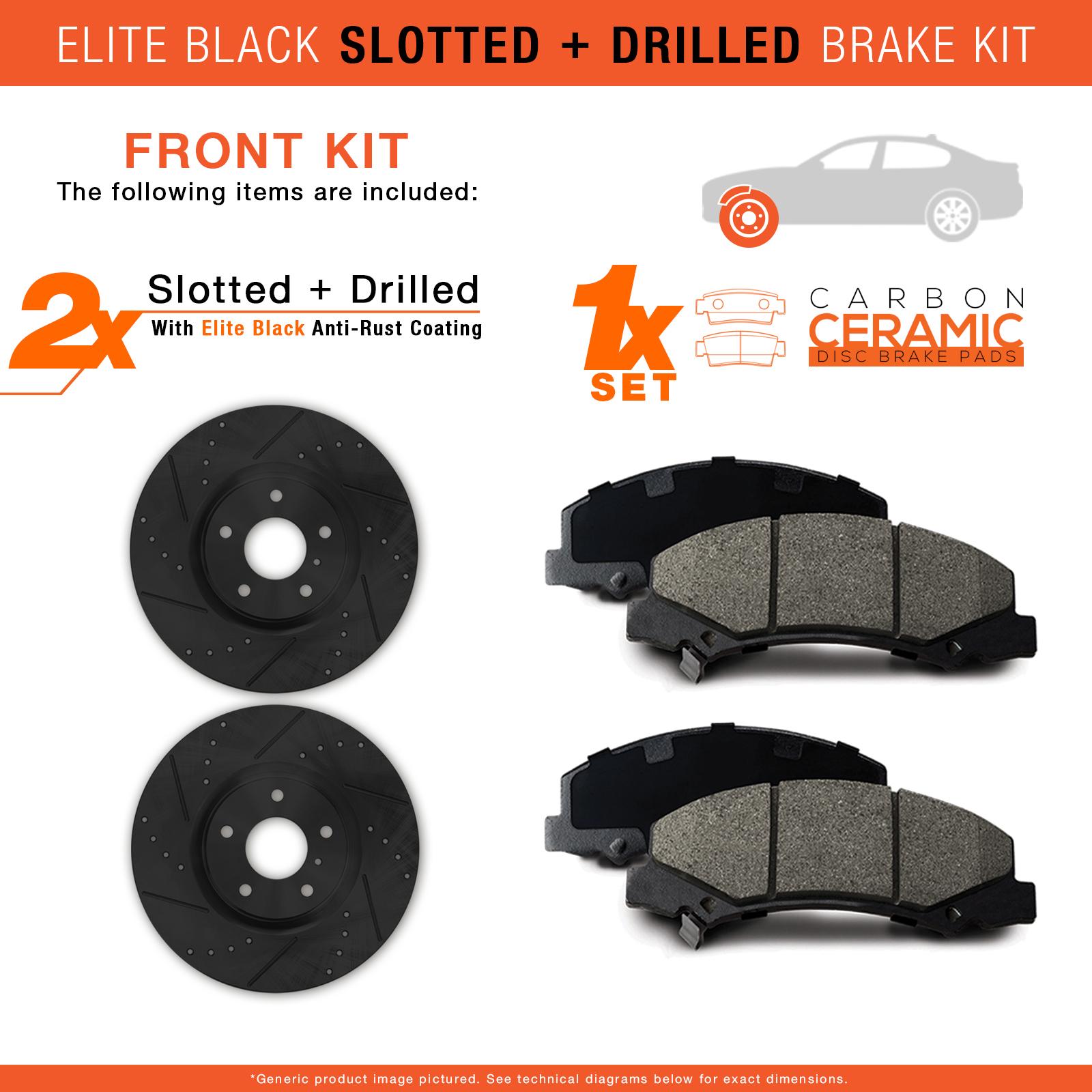 2000-2001-2002-2003-Saturn-L-Series-Black-Slot-Drill-Rotor-w-Ceramic-Pads-F