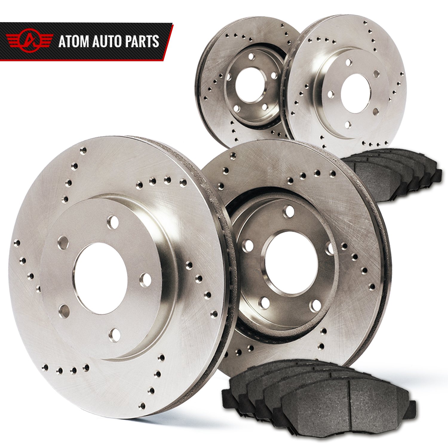 2006-2007-Cadillac-DTS-See-Desc-Cross-Drilled-Rotors-Metallic-Pads-F-R