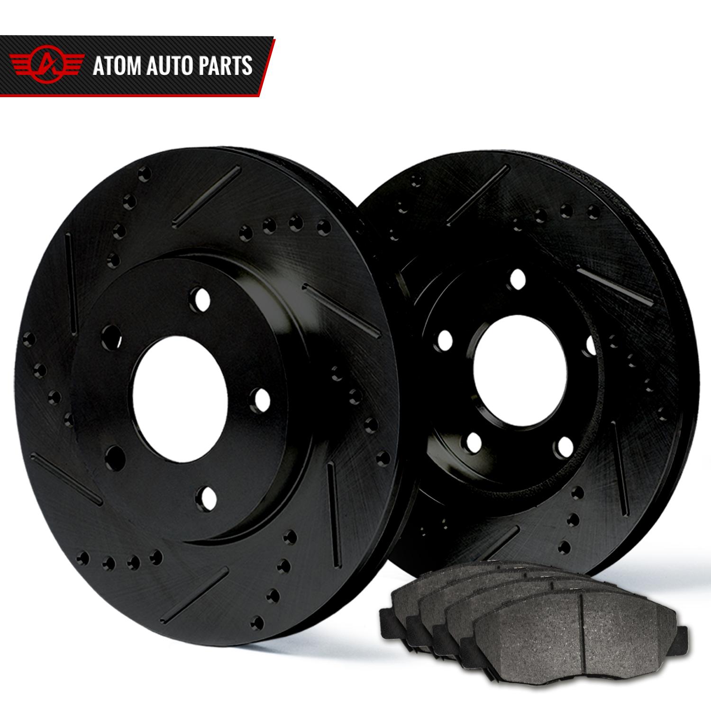 2007 2008 2009 Ford Edge AWD (Black) Slot Drill Rotor Metallic Pads F