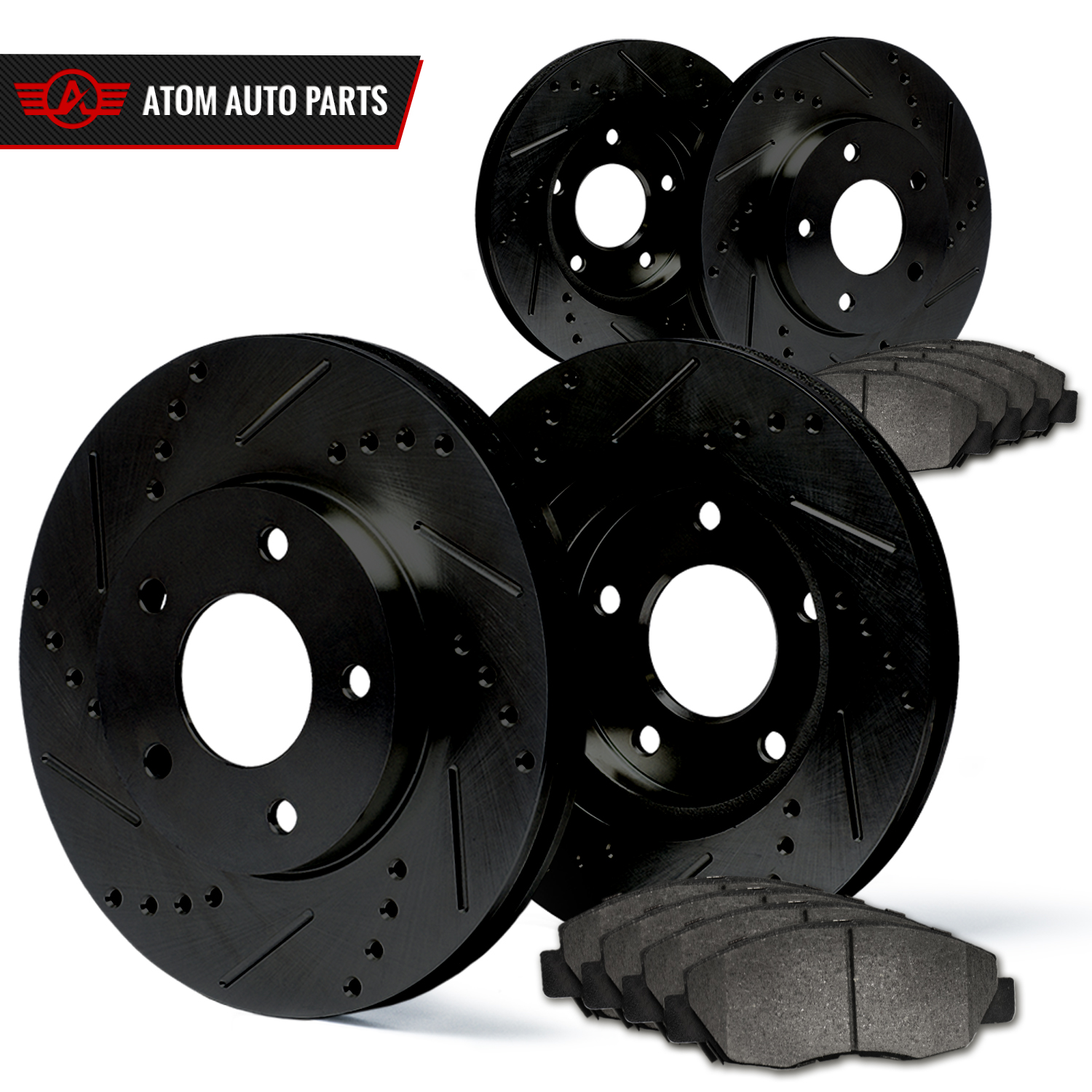 Front-Rear-Rotors-w-Metallic-Pad-Elite-Brakes-Fits-2010-2014-Legacy-R