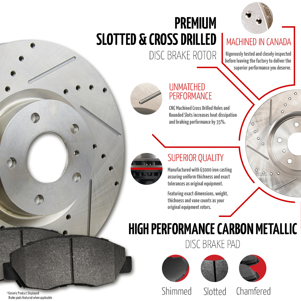 2007-2008-2009-Chevy-Uplander-Slotted-Drilled-Rotors-Metallic-Pads-F-R