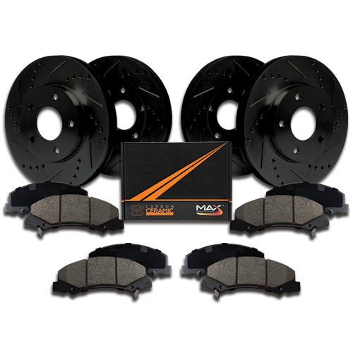 Max Brakes Rear Elite E-Coated XDS Rotors and Ceramic Pads Brake Kit KT084782-10