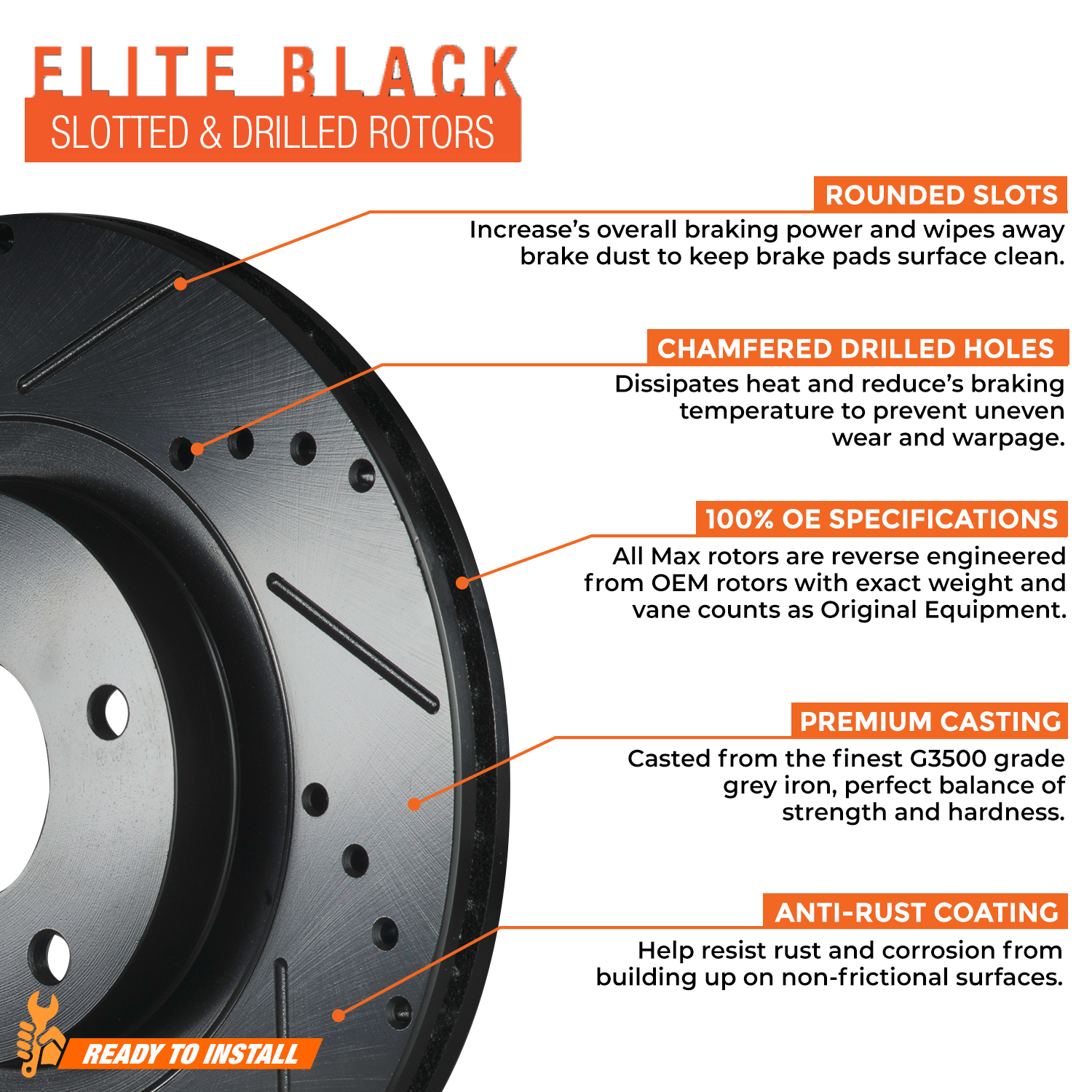 FRONT-ELITE-BLACK-Slotted-amp-Drilled-Rotors-with-Ceramic-Pads-amp-Hardware-Kit thumbnail 3