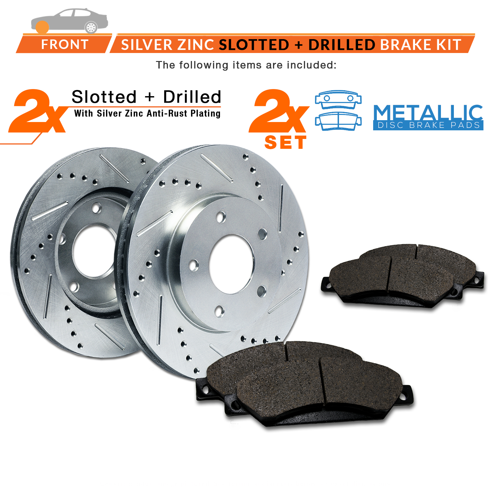 2011-2012-Honda-Fit-Silver-Slot-Drill-Rotor-Metallic-Pads-F thumbnail 2