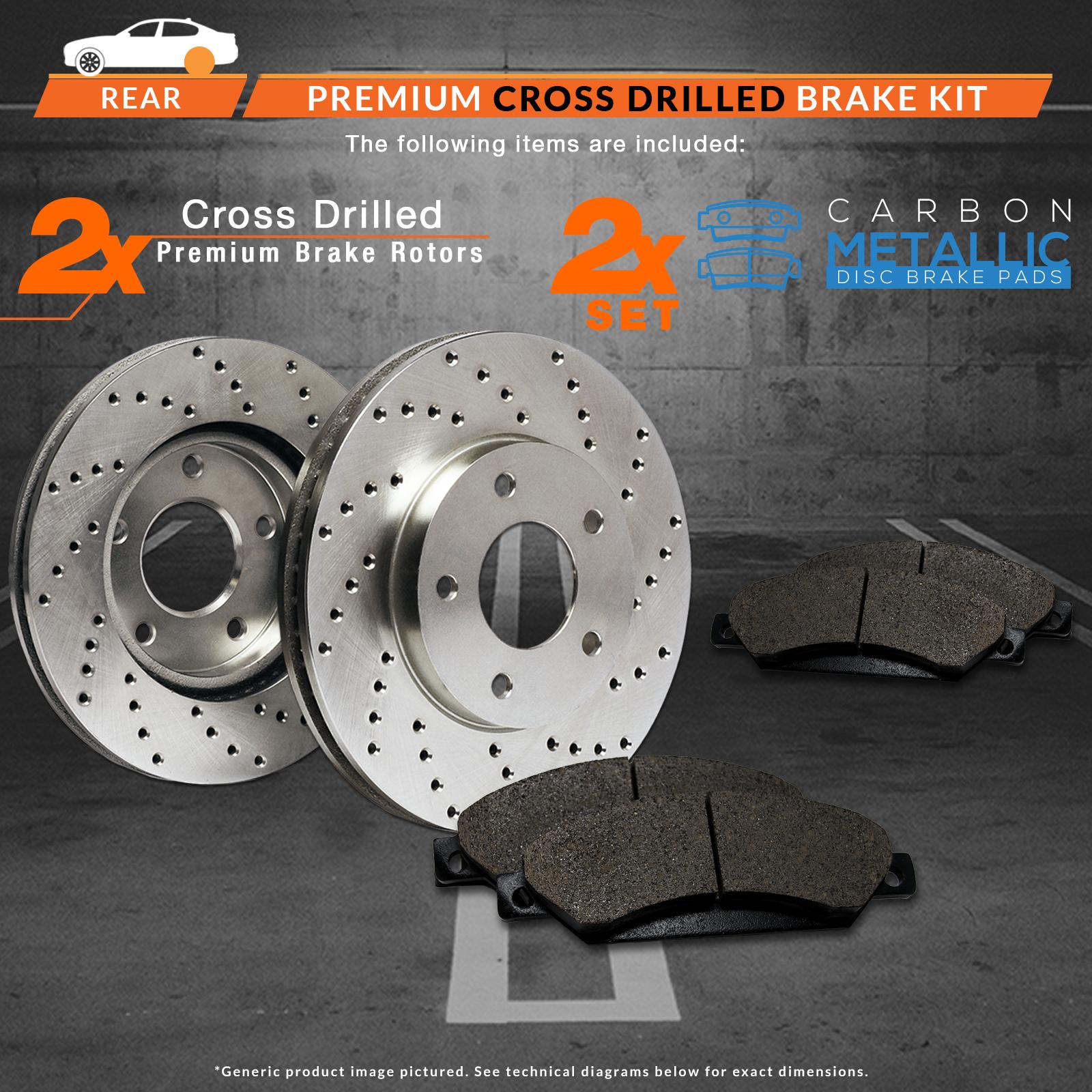 2013 2014 2015 Ford Taurus Non SHO Cross Drilled Rotors w/Metallic Pads R 2