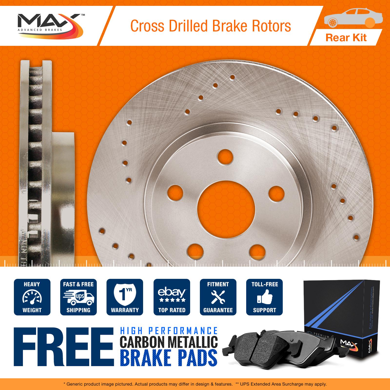 Rear Rotors w/Carbon Pads Drilled Brakes (Cobalt Malibu HHR G5 G6 Aura ION)