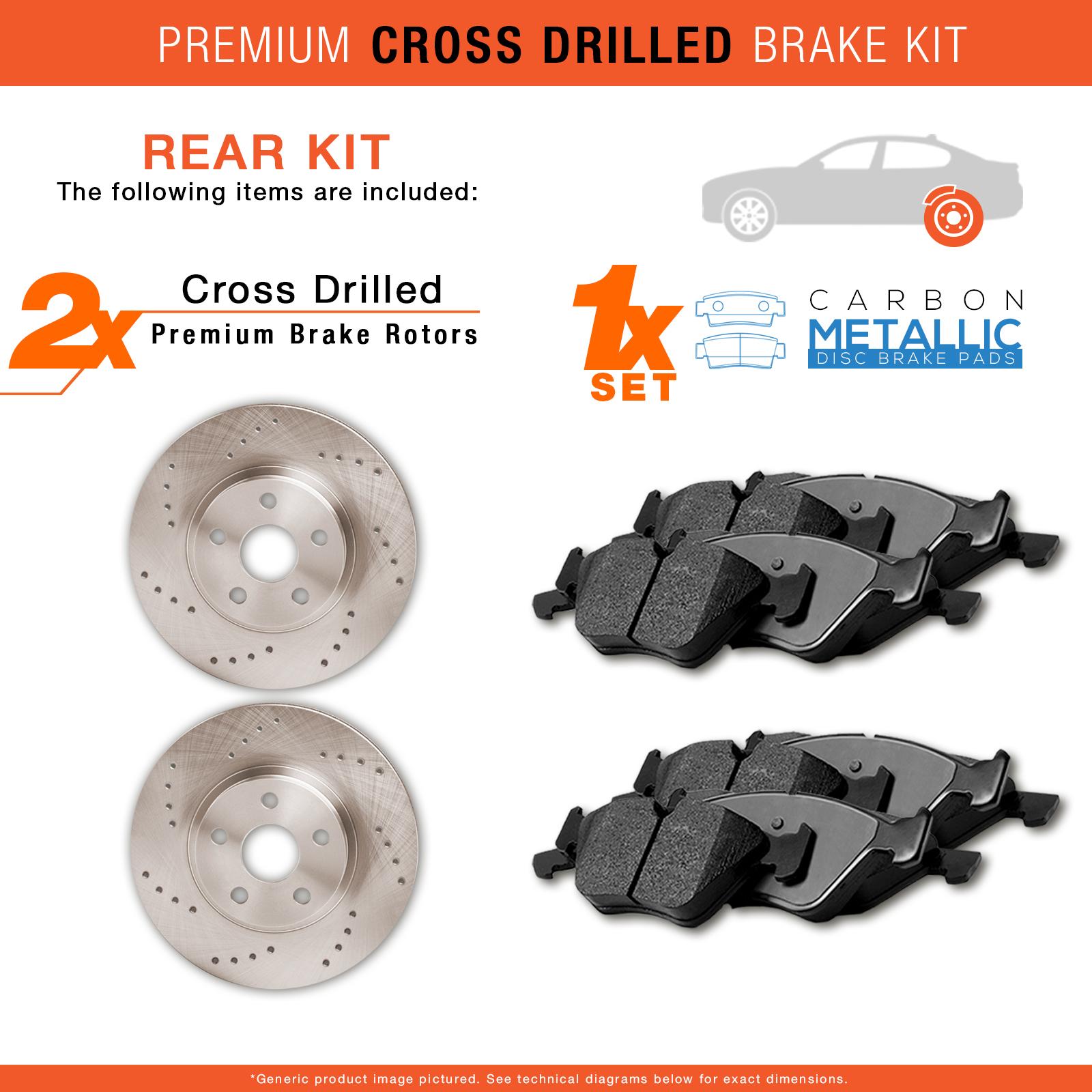 ta2r included 041018 Rear Rotors w/Carbon Pads Drilled Brakes (Cobalt Malibu HHR G5 G6 Aura ION)