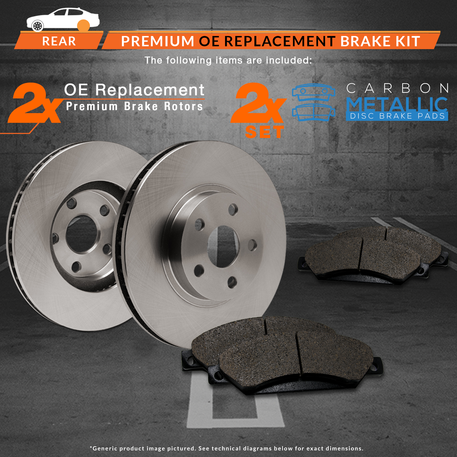 2013 2014 2015 Ford Taurus Non SHO OE Replacement Rotors w/Metallic Pads R 2