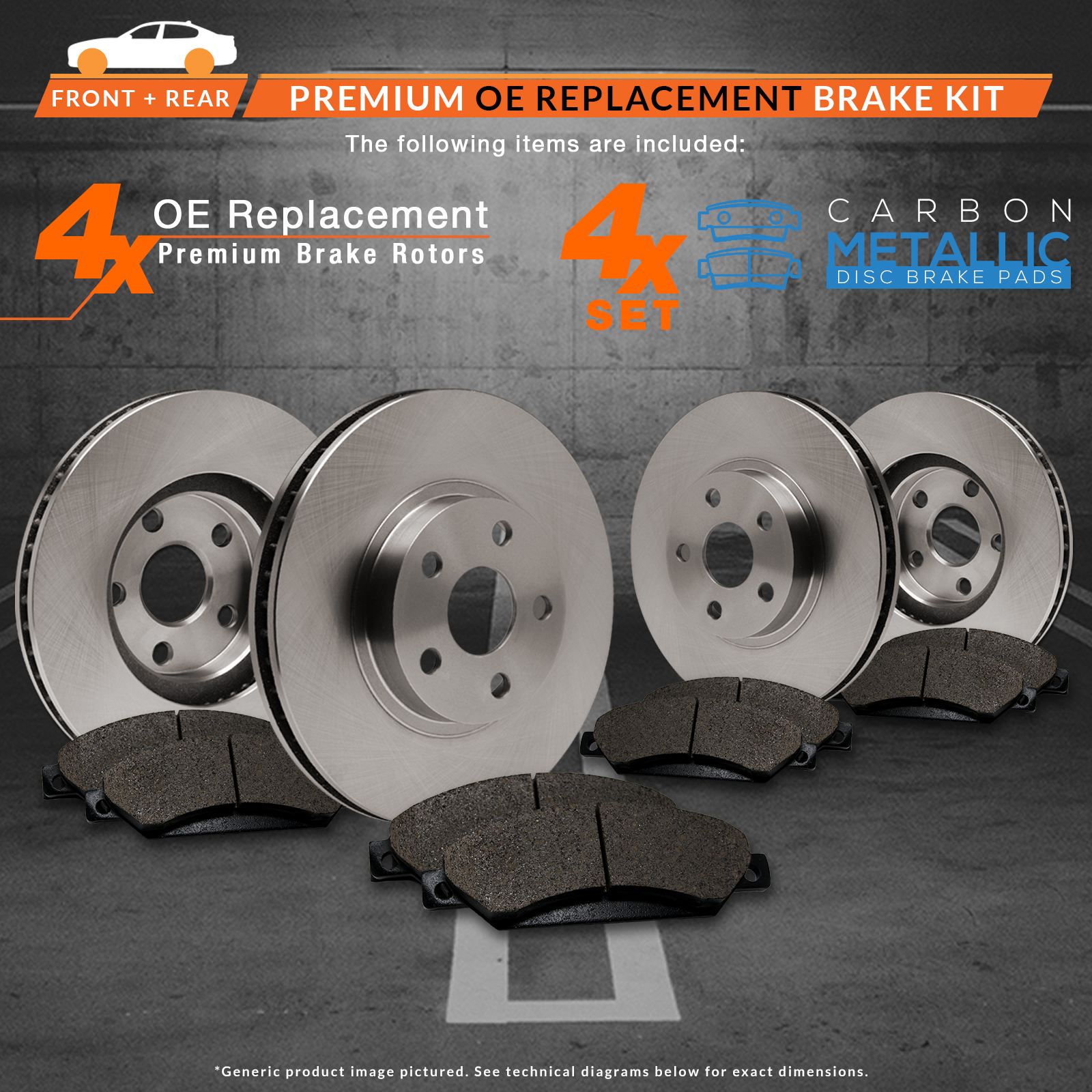 Front-Rear-Rotors-w-Metallic-Pad-OE-Brakes-02-05-Envoy-Trailblazer thumbnail 2