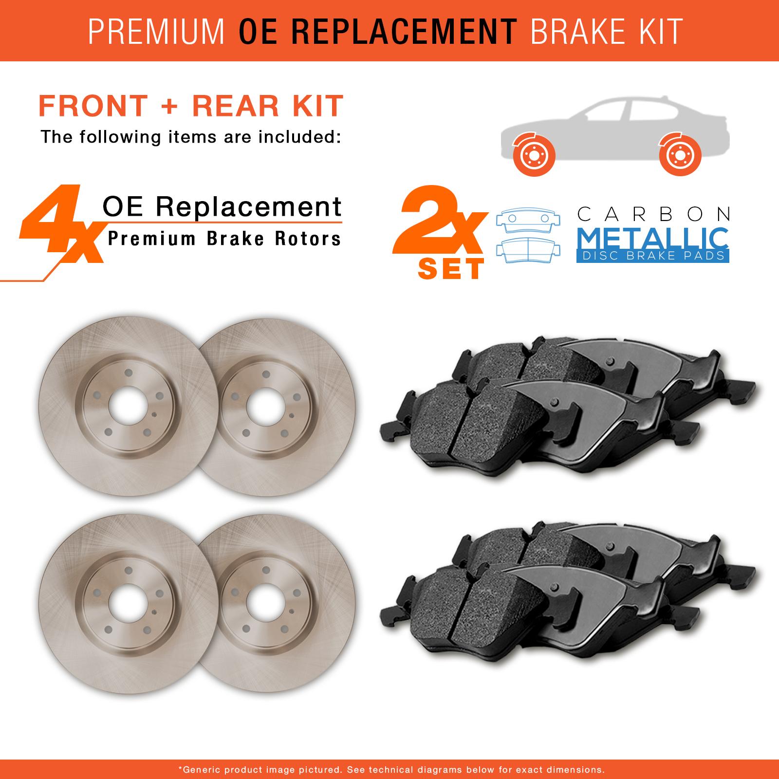2007-2008-Mitsubishi-Galant-Ralliart-OE-Replacement-Rotors-w-Metallic-Pads-F-R