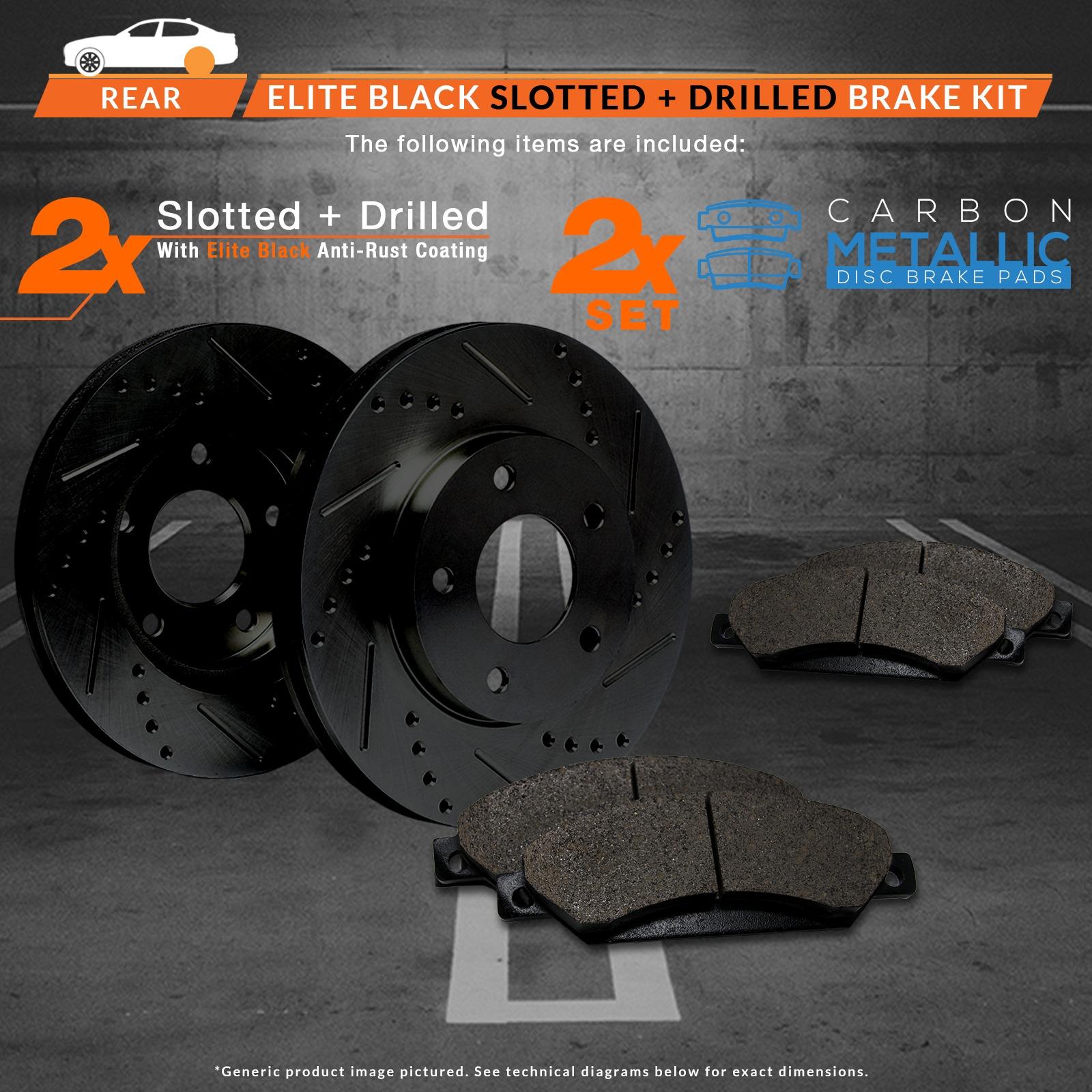 2009-2010-Pontiac-Vibe-2-4L-Base-Black-Slot-Drill-Rotors-Metallic-Pads-R miniature 2