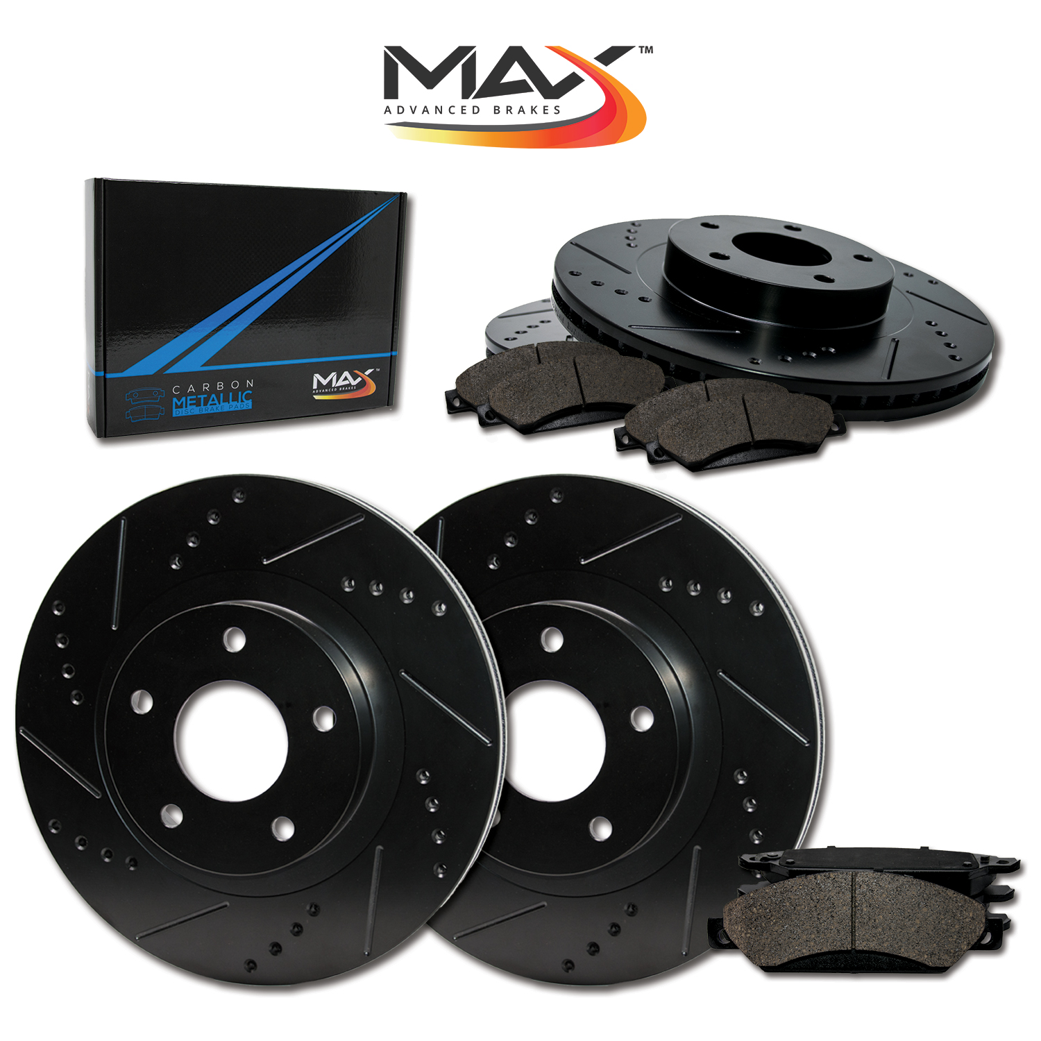 Front-Rear-Rotors-w-Metallic-Pad-Elite-Brakes-06-07-08-F150-Mark-LT-4WD thumbnail 1