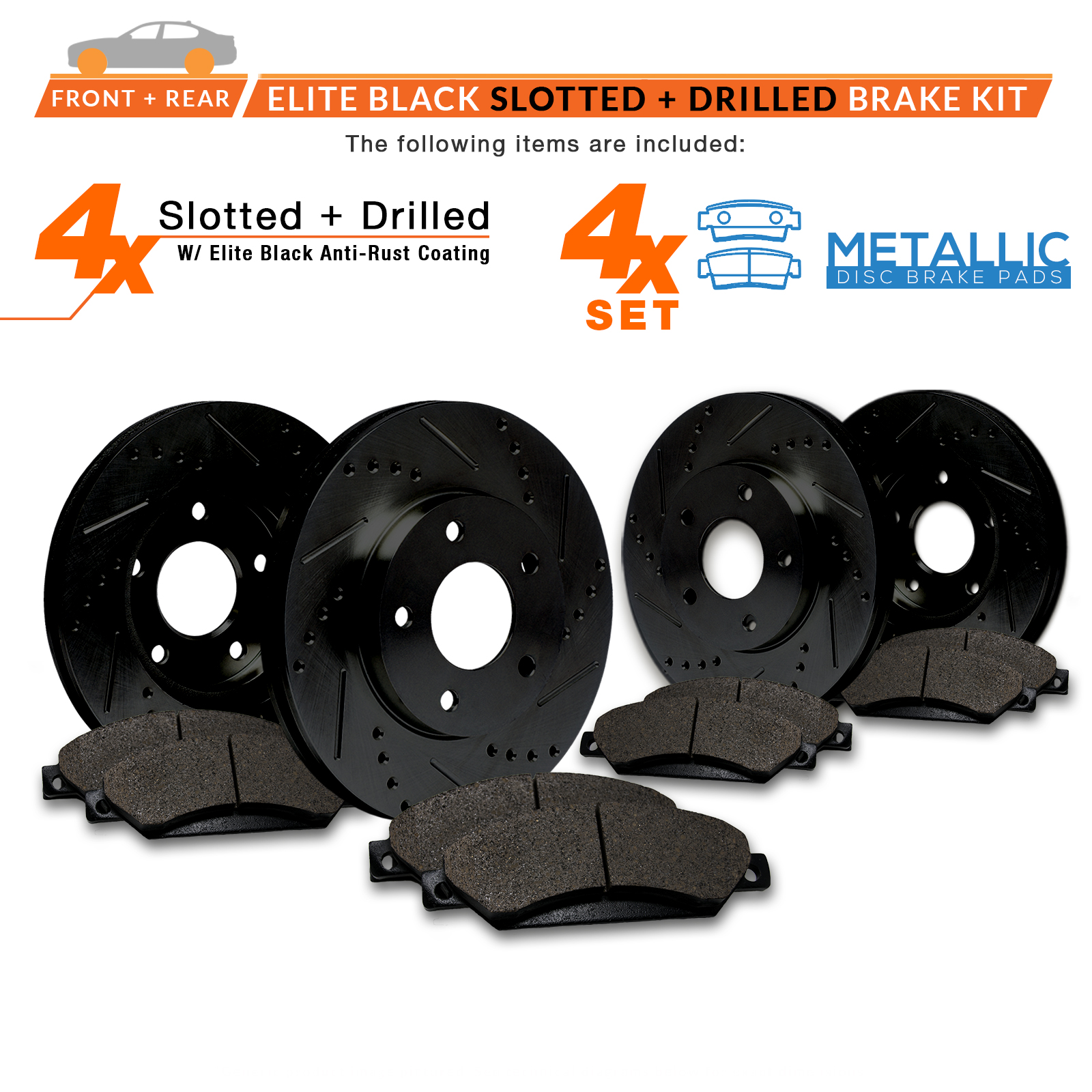 Front-Rear-Rotors-w-Metallic-Pad-Elite-Brakes-06-07-08-F150-Mark-LT-4WD thumbnail 2