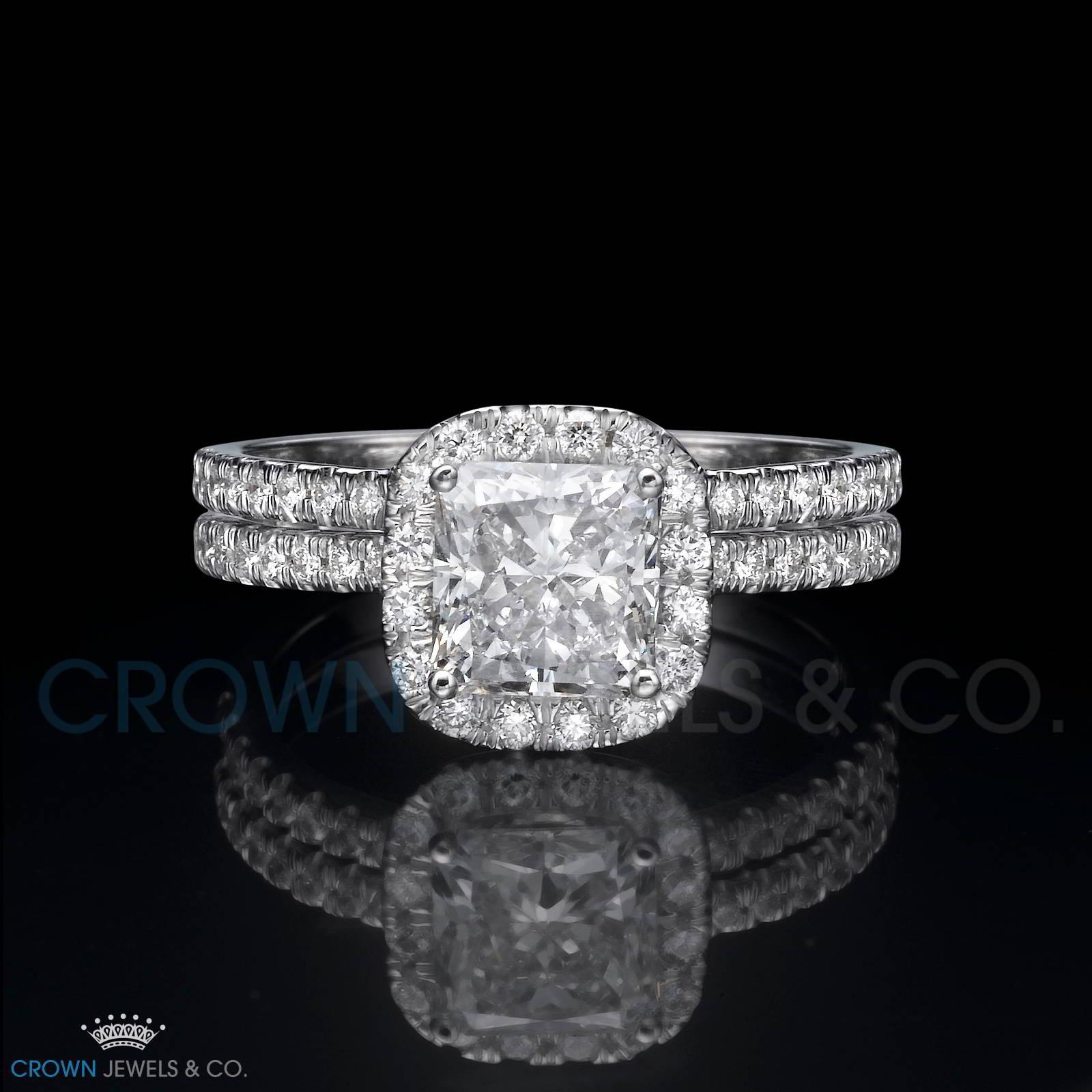 2 1 Carat Halo Diamond Engagement Ring Wedding Band Set D Si Cushion