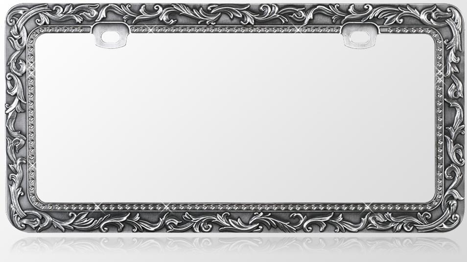 Metal License Plate Frame Vintage Lace Design Gun