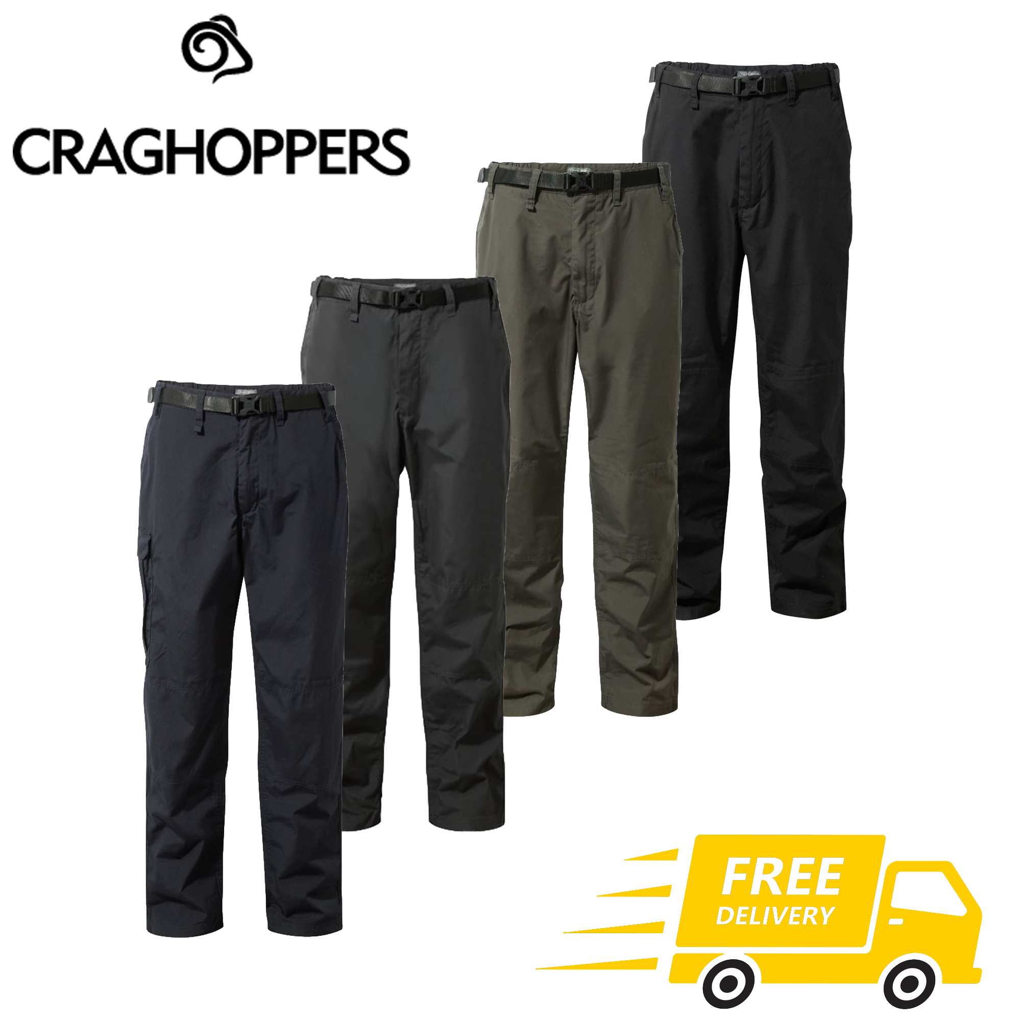 Craghoppers Mens Classic Kiwi Pants Insect-Repellent Lightweight Quick Dry Trousers with Sun Protection Fabric