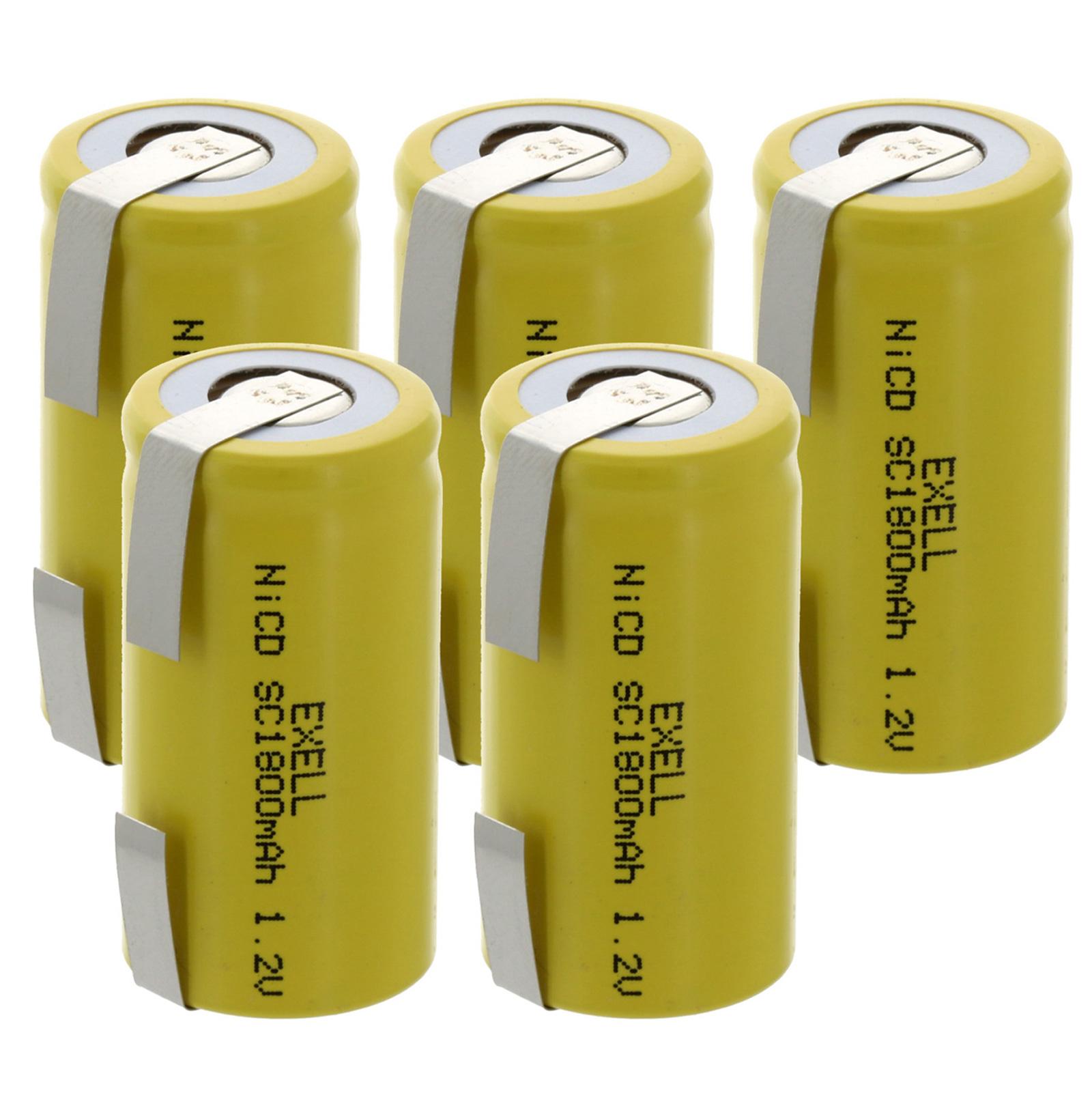 2pc 1.2V SubC 1800mAh NiCD Rechargeable High Temp Flat Top Batteries USA SHIP