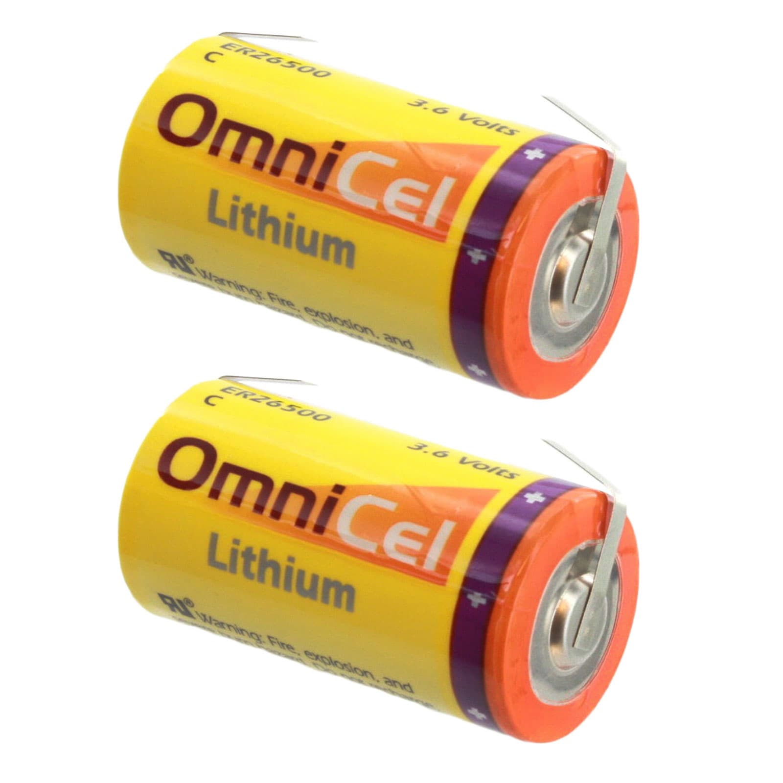 Theft Prevention AMR Add-ons Communications RFID Tracking 2x OmniCel ER26500 3.6V 8.5Ah Size C Lithium Battery w// Wire Leads For Data Collection Smart Munitions Asset Tracking