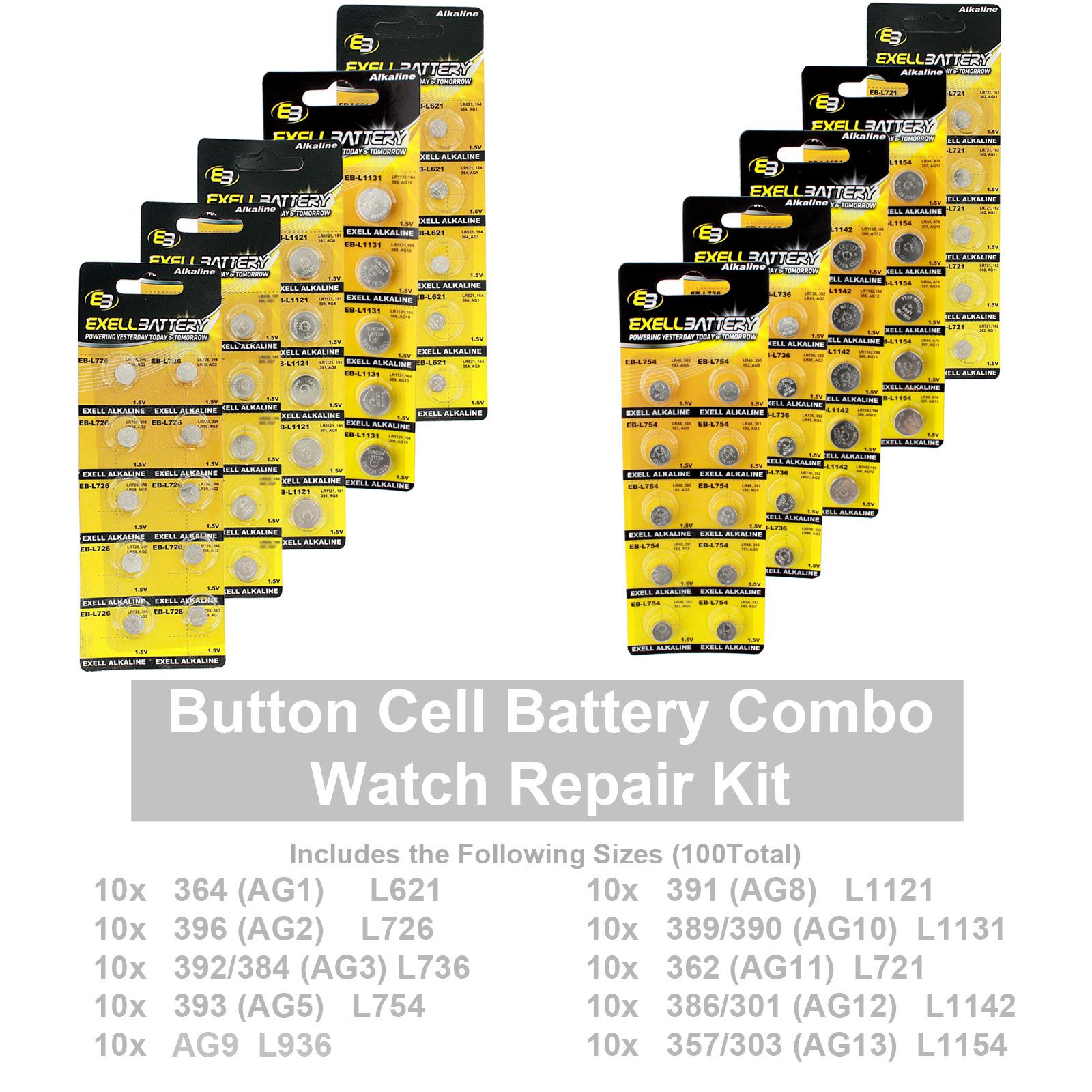 100 pcs assorted watch batteries alkaline repair kit variety pack 100 pcs assorted watch batteries alkaline repair kit variety pack fast usa ship fandeluxe Gallery