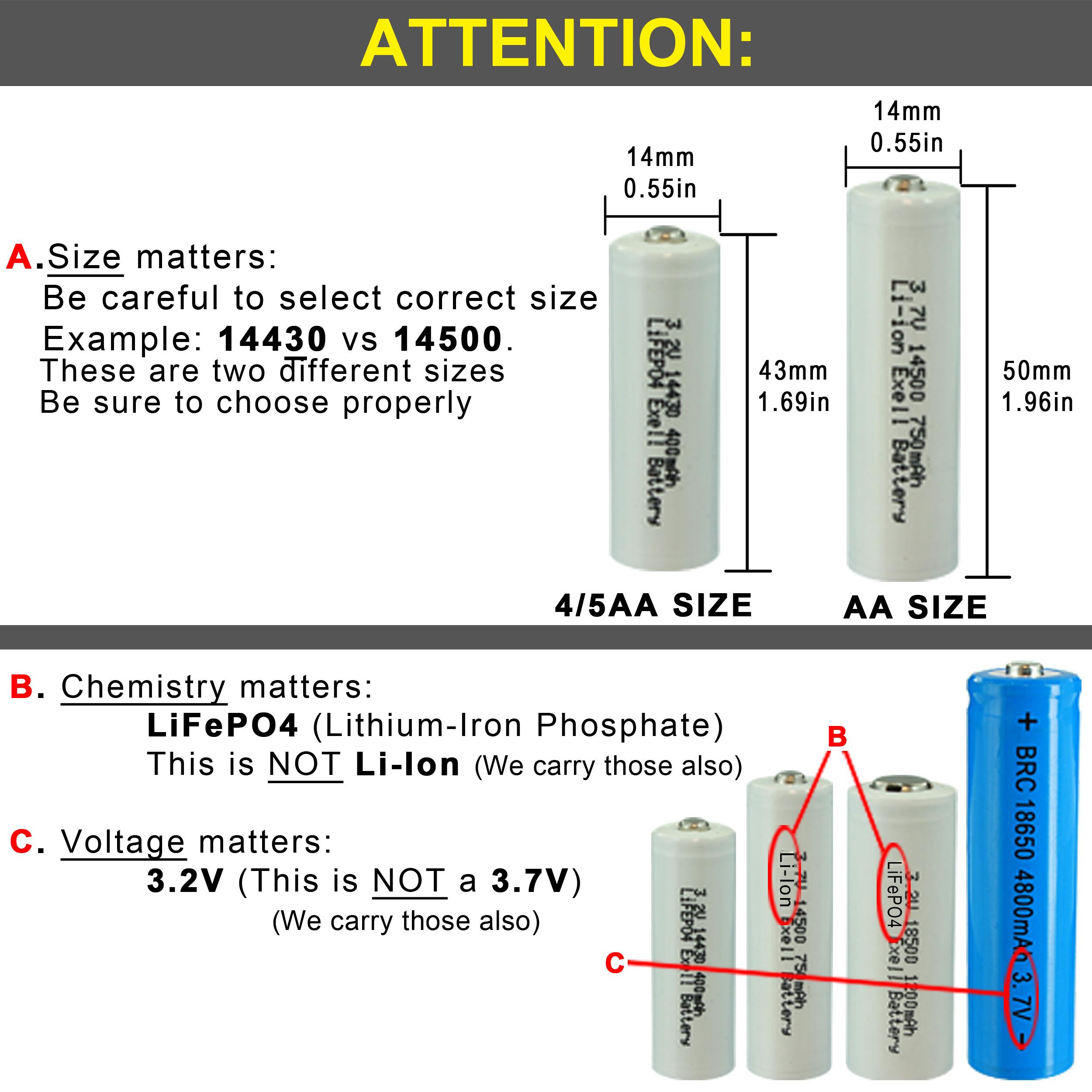 4 Pack 3 2v 400mah Exell Battery Li Fepo4 14430 4 5aa