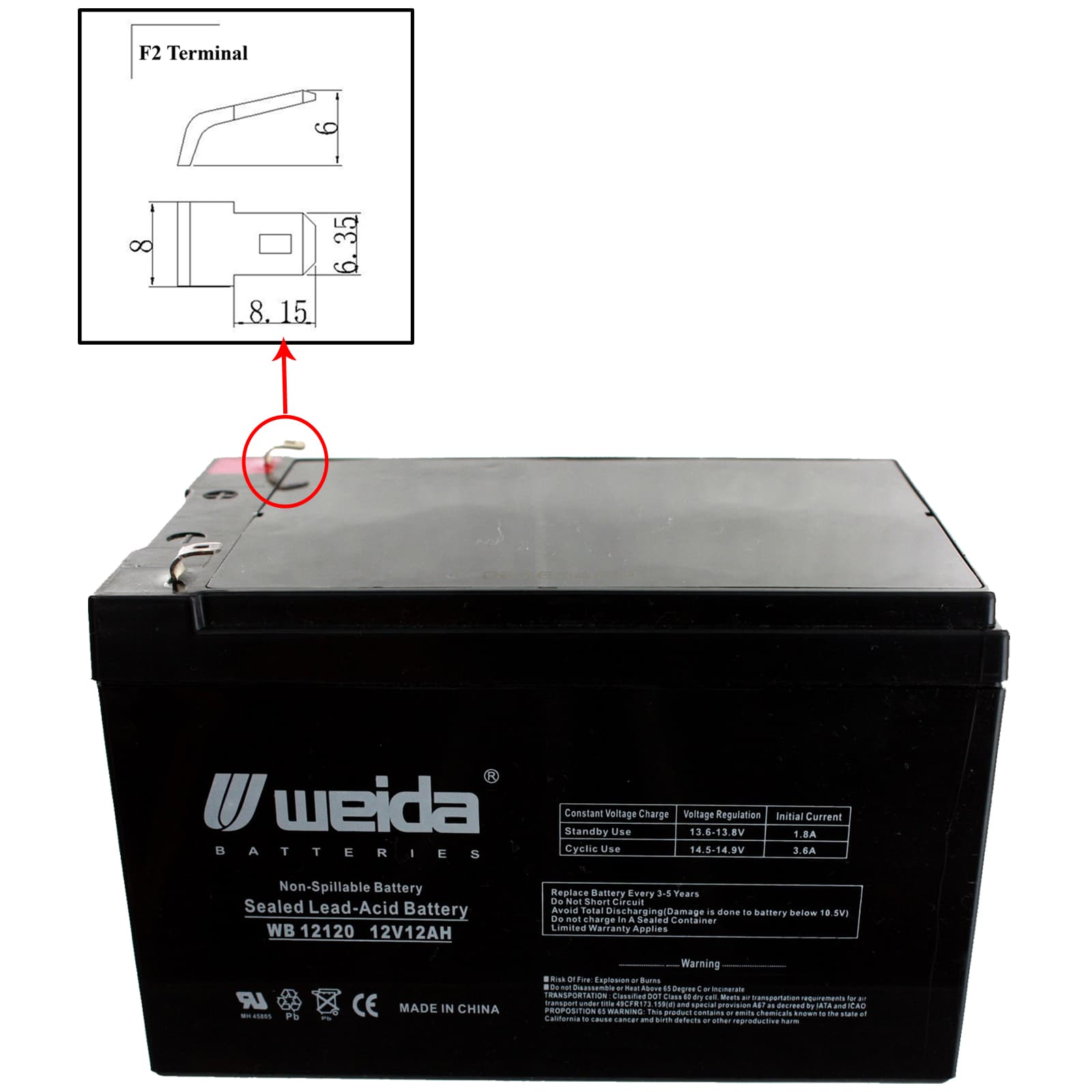 4 Pack Brand Product Mighty Max Battery Data Shield AT5000 12V 12Ah F2 Lead Acid Battery