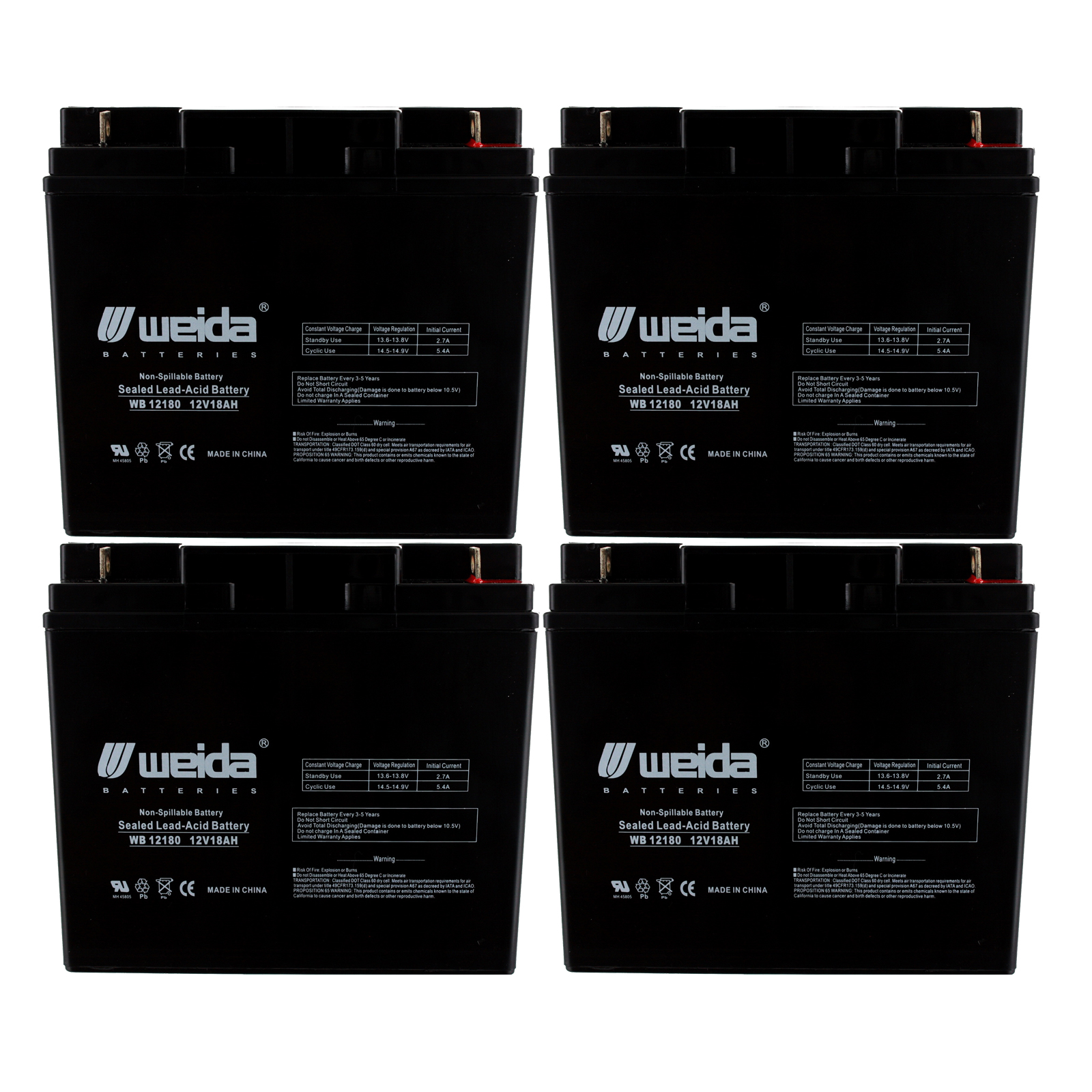 4 Pack AB12180 12V 18AH Replacement for General Power GPS-3K-120-61 UPS Battery
