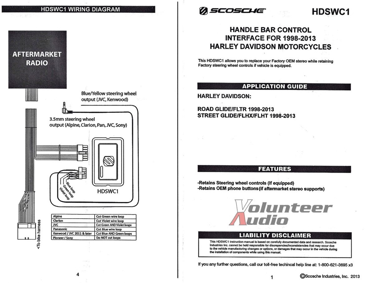 scosche wiring diagram 98 s10 98 2013 harley touring radio install adapter with thumb ... tail light wiring diagram chevy s10