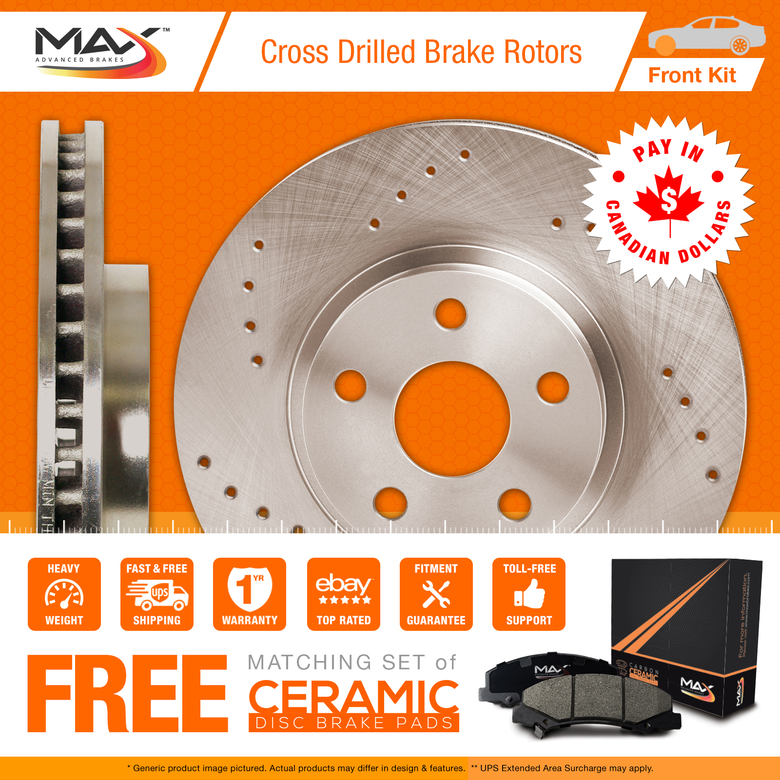1992 Mitsubishi Eclipse FWD Model Cross Drilled Rotors AND Ceramic Pads Front