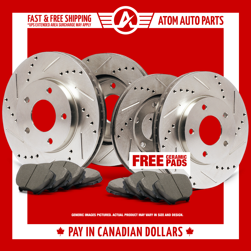 2008 Suzuki SX4 w/Rear Disc Brakes (Slotted Drilled) Rotors Ceramic Pads F+R