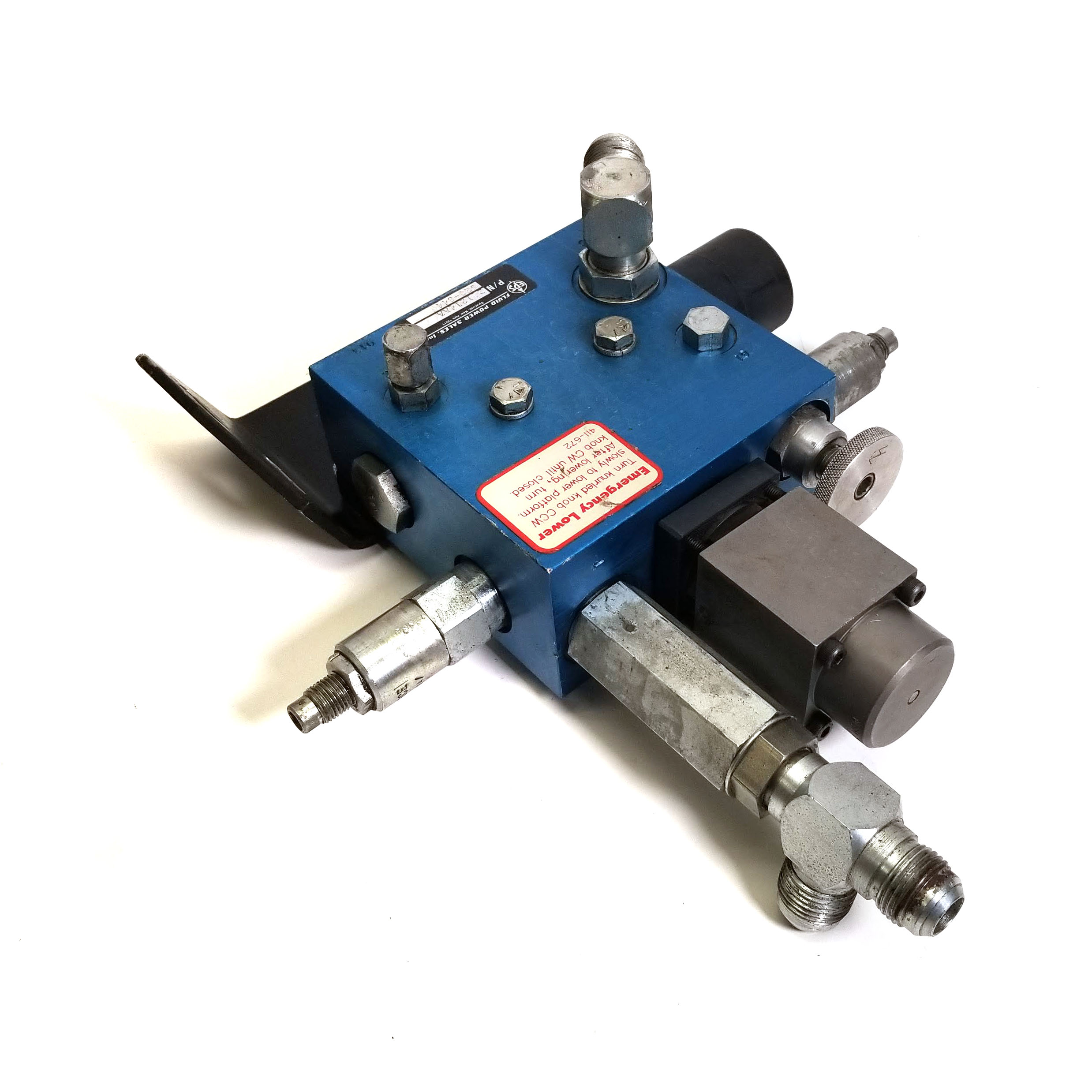 Details about Fluid Power Sales 241214AA Hydraulic Control Manifold  w/Emergency Lower Valve