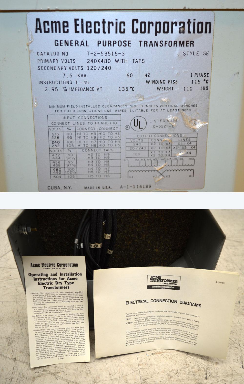 Acme Transformer Wiring Diagram B 111705 Single Phase Diagrams T2535153s 75kva 1ph