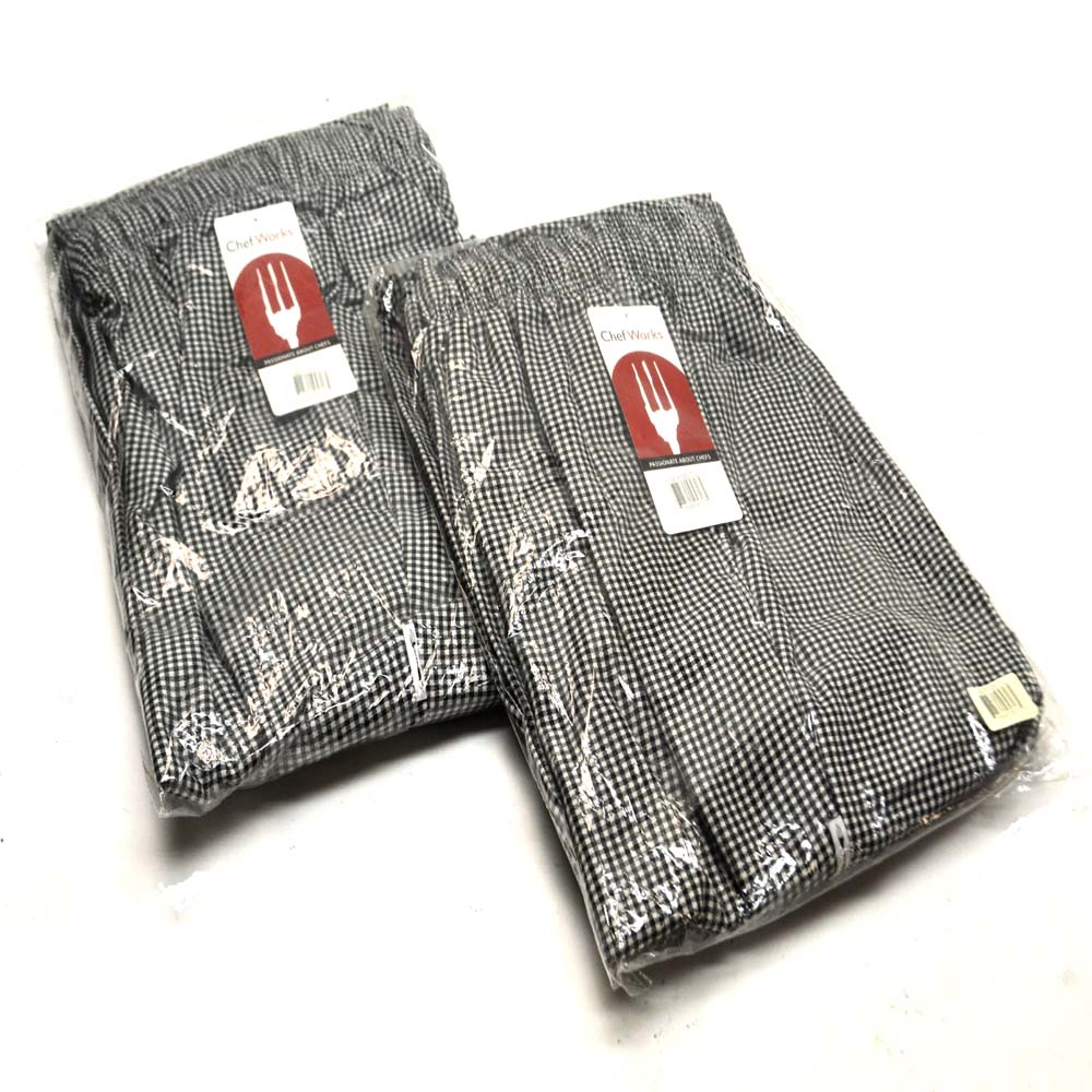 """NEW Chef Works NBCP-000-2XL Checkered Baggy Designer Chef Pants /""""2XL/"""" 2"""