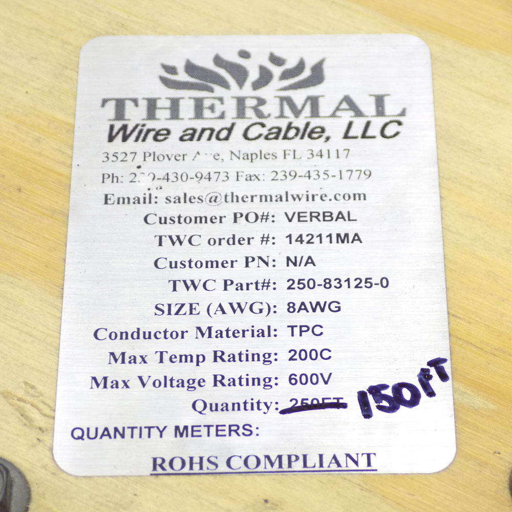 Thermal Wire And Cable 250-83125-0 150 Ft. 600V Lead Wire