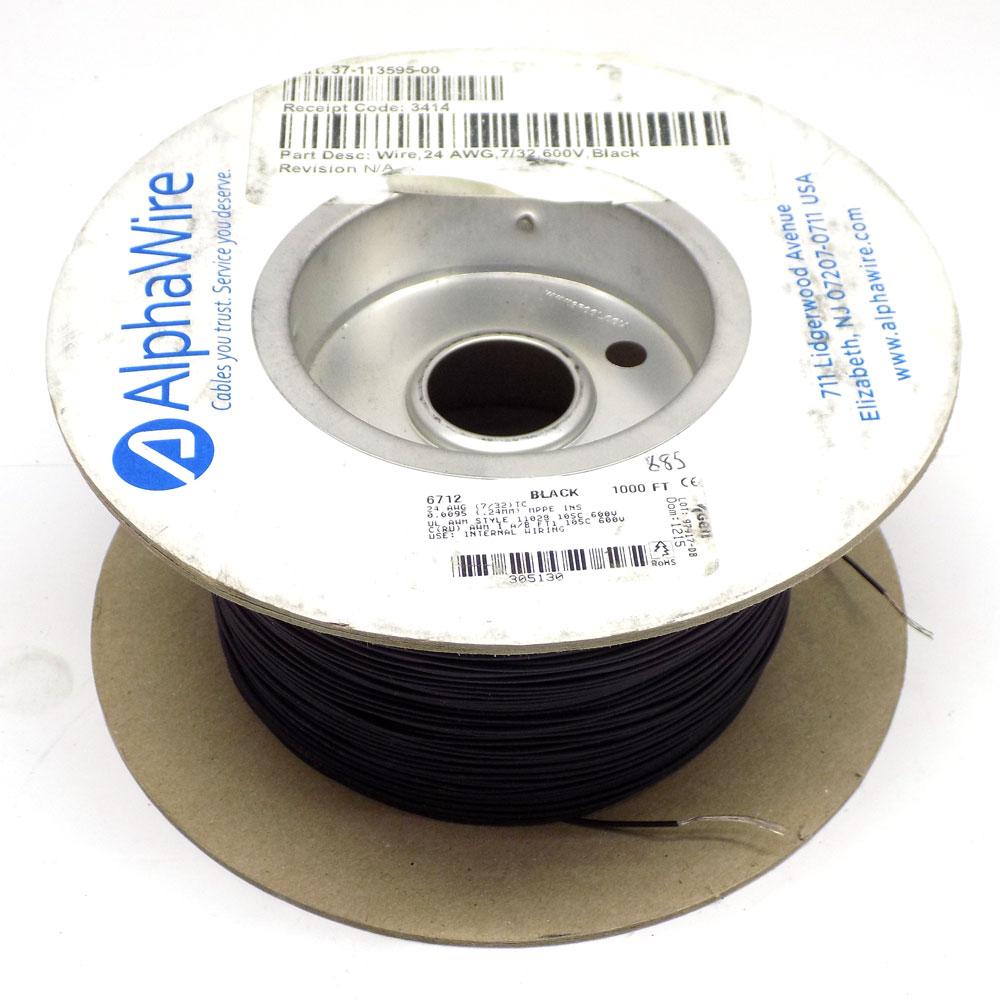 AlphaWire 6712 Black 24 AWG 600 Volt Internal Hook-Up Wire (885 Feet)