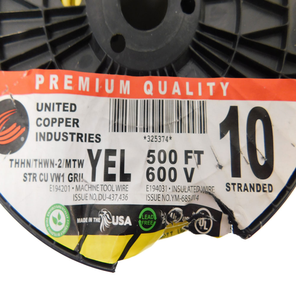 United Copper Industries E194031 10 AWG Yellow Copper Building Wire ...
