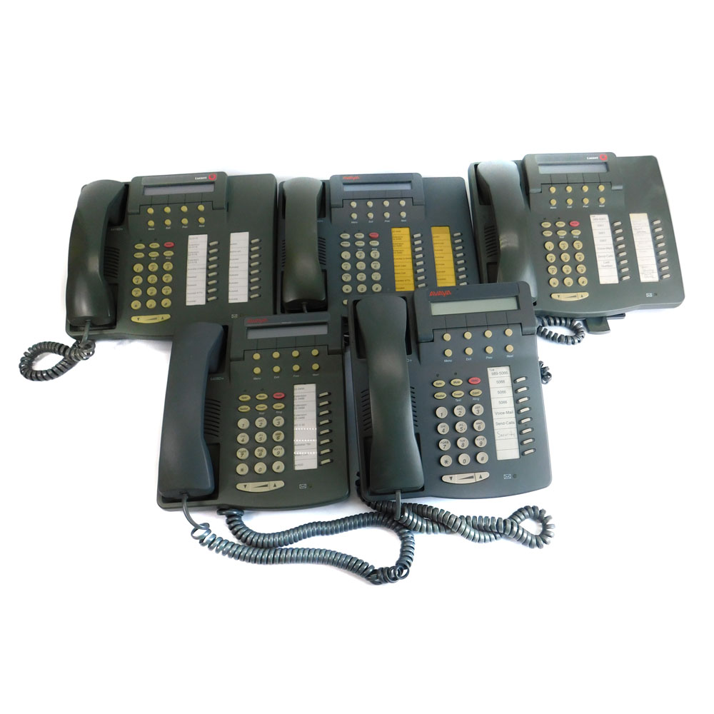 (Lot of 3) Lucent 6416D+ and (Lot of 2) Avaya 6408D+ Business Telephones