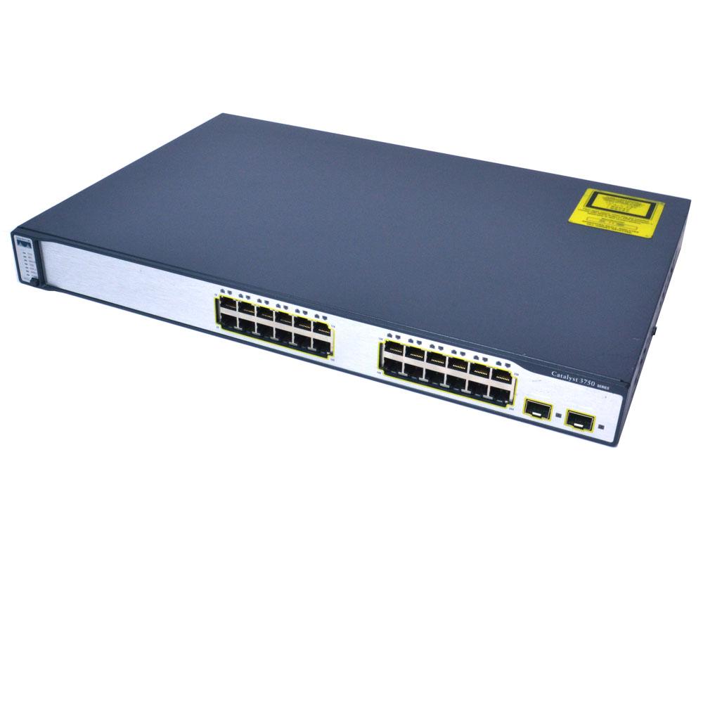 Cisco WS-C3750V2-24PS-S 24 Ethernet 10//100 ports multilayer switch IP Base soft.
