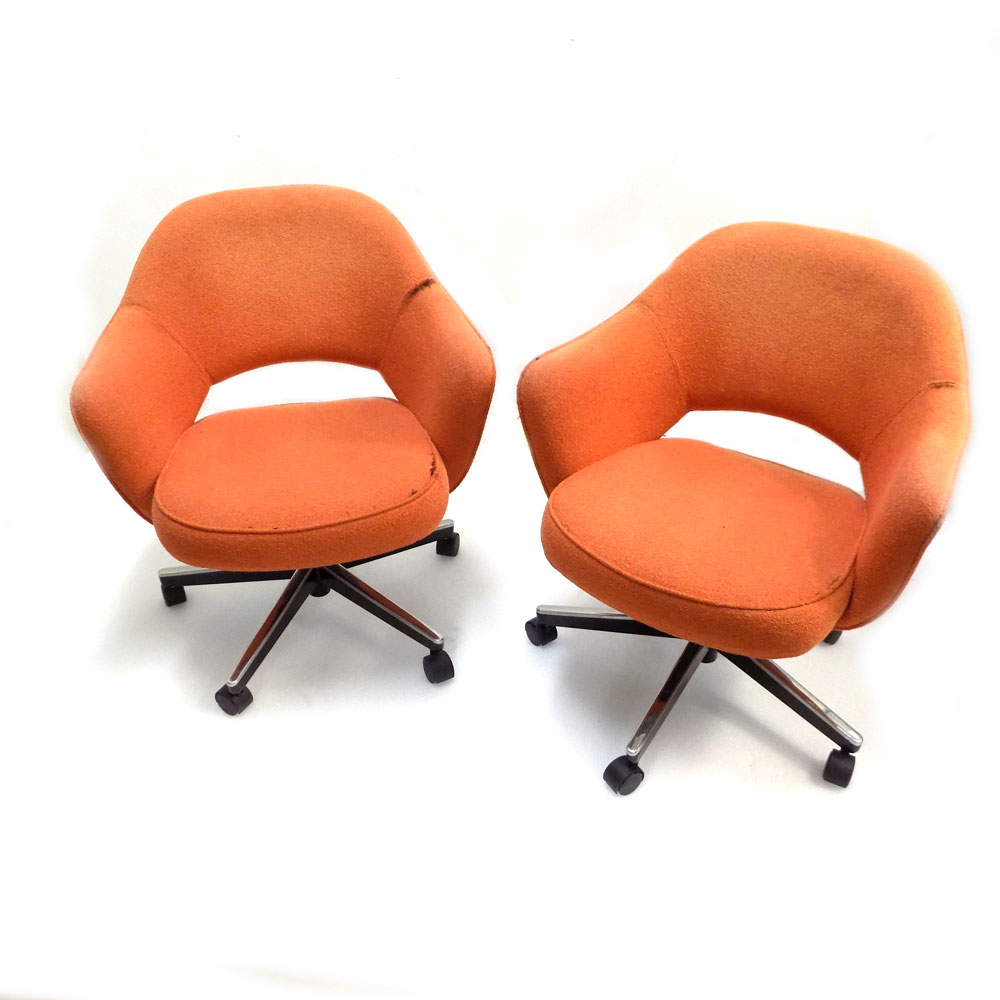 Excellent Details About 2 Knoll 71At5Gh Saarinen Executive Orange Fabric Swivel Arm Chair W Casters Lamtechconsult Wood Chair Design Ideas Lamtechconsultcom