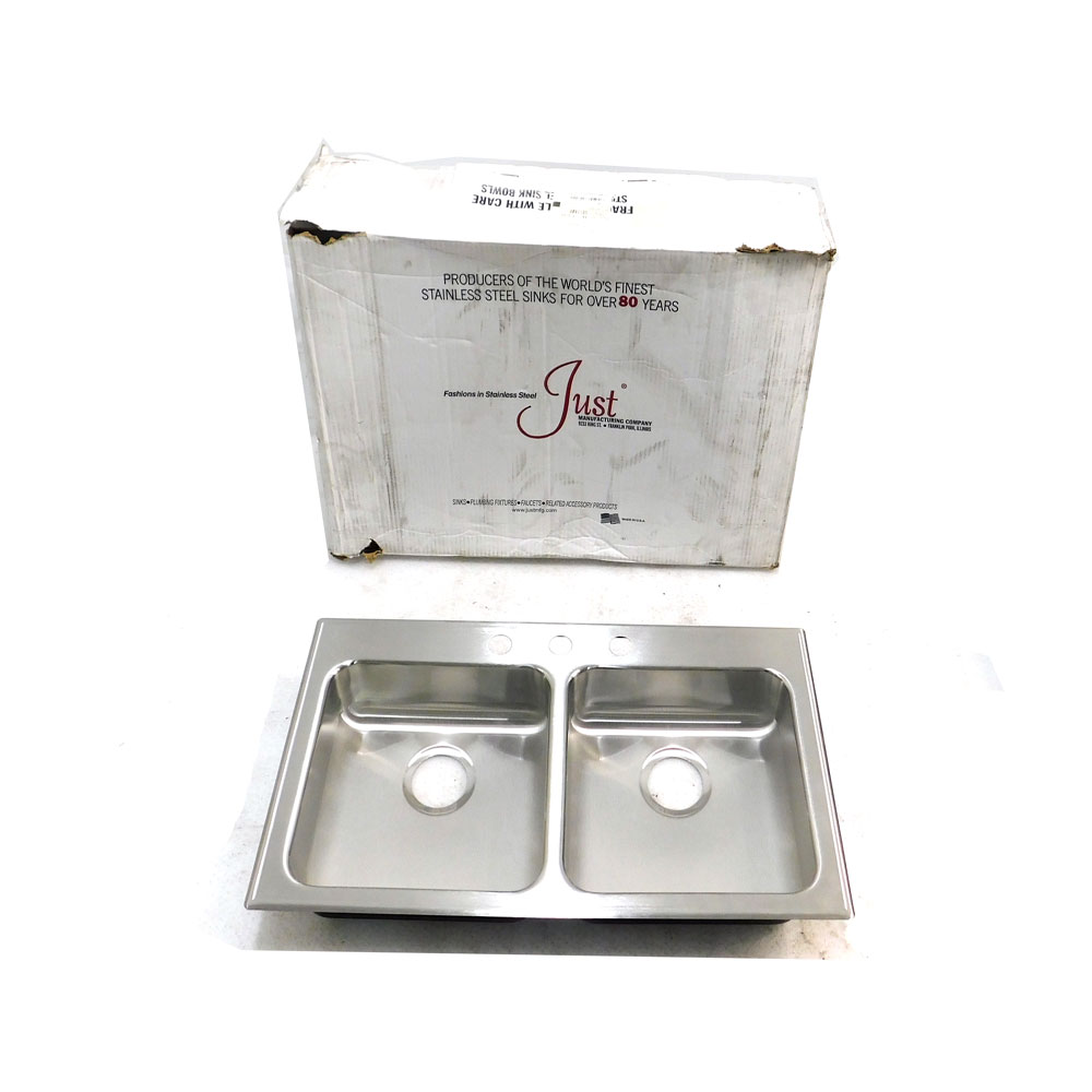 Details about NEW Just Mfg. Double Bowl Kitchen Sink Stainless Steel 29\