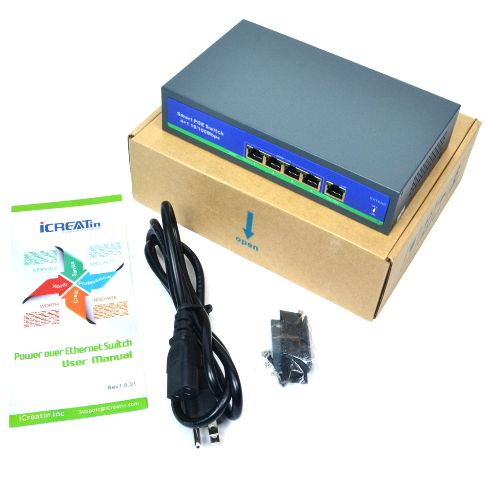 NEW iCreatin PS-0410B 10//100M Active PoE Ethernet Switch IEEE802.3af//at 48V 65W
