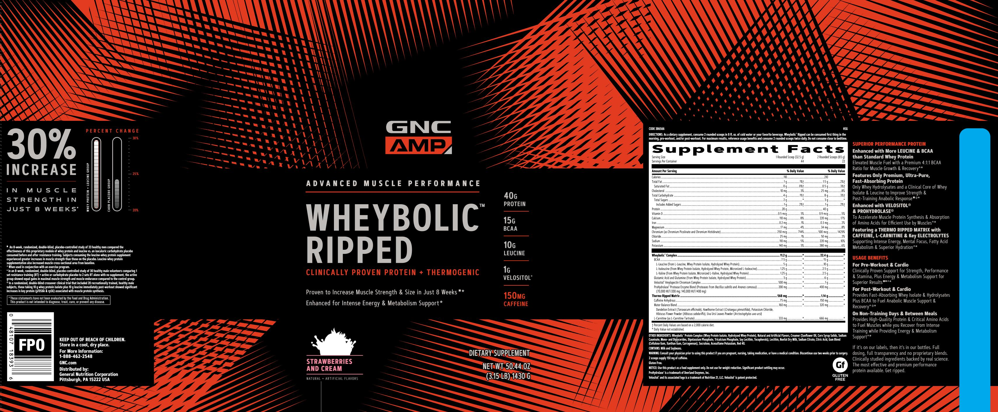 Details about GNC AMP Wheybolic Ripped - Strawberries and Cream