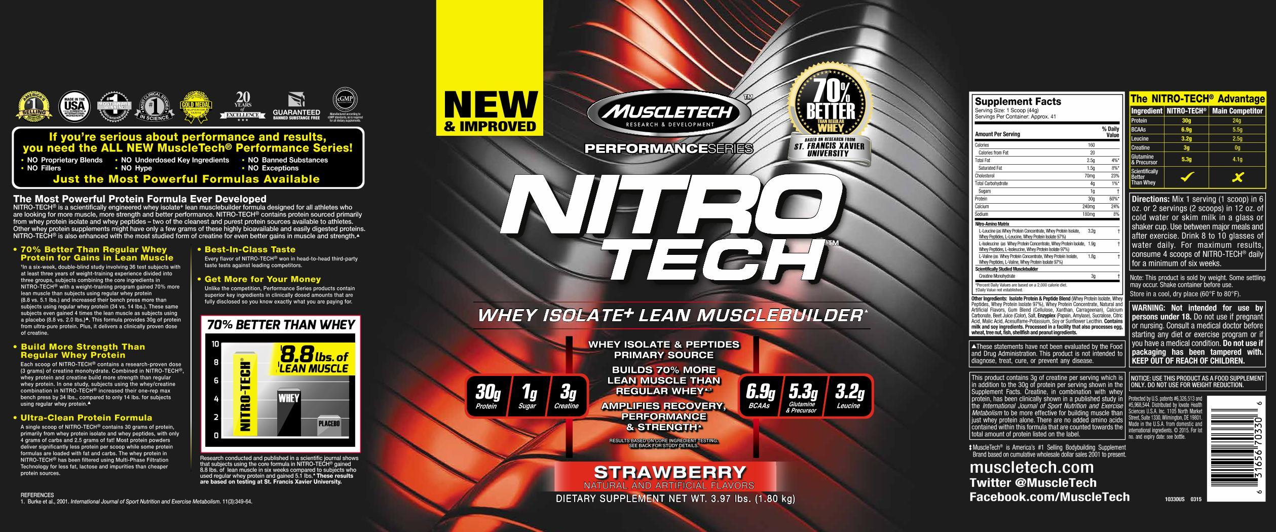 Muscletech Nitro Tech Whey Protein Strawberry 4 Lbs Ebay Nitrotech