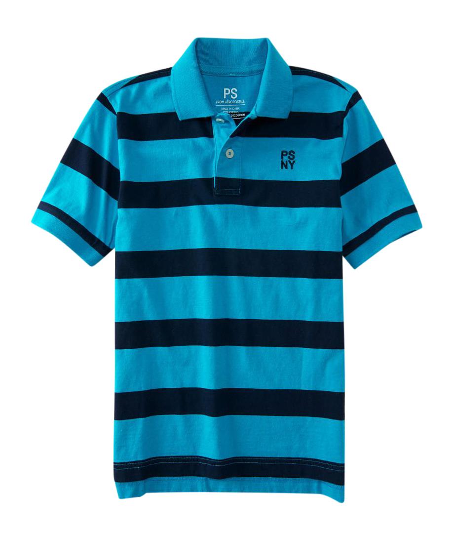 aeropostale kids ps boys' psny bar stripe jersey polo shirt