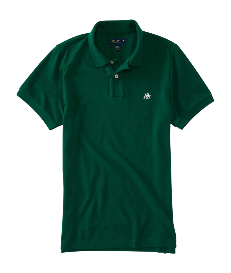 aeropostale mens a87 solid logo pique polo shirt