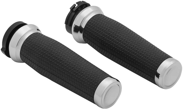 """1/"""" Chrome Rubber Hand Grips For Harley H-D Night Train FXSTB Softail Deuce FXSTD"""