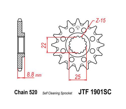 JT Sprockets Self-Cleaning Steel Front Sprocket JTF432.15SC 15T~