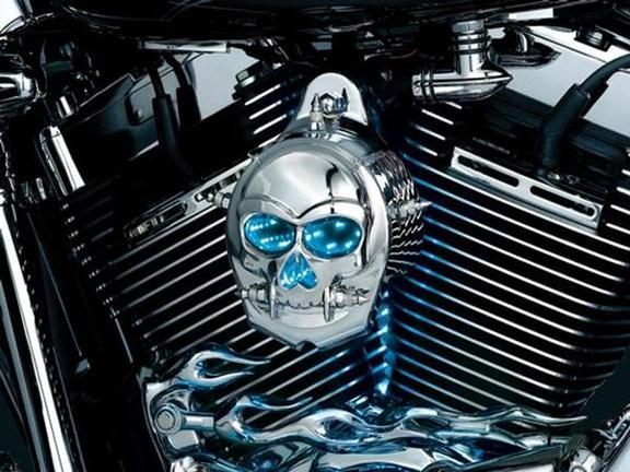 Chrome Skull Horn Cover For Harley Davidson Softail Night Train Deluxe FLSTNI